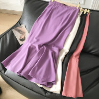 skirt Autumn 2020 M, L Black, apricot, purple, pink Mid length dress commute High waist Solid color 18-24 years old FG305665 30% and below Korean version