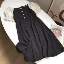Dress Spring 2021 black S,M,L longuette singleton  Short sleeve commute square neck Solid color Socket 18-24 years old Type A Other / other FG309343 30% and below