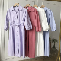 Dress Spring 2021 Pink, purple, blue, white S,M,L Mid length dress singleton  Long sleeves commute Polo collar Loose waist Solid color Single breasted other other Others 18-24 years old Type H SG417261 30% and below other other