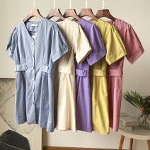 Dress Summer 2020 M, L Short skirt singleton  Short sleeve commute V-neck Loose waist Solid color Single breasted other routine 18-24 years old Type H Other / other Korean version 30% and below other