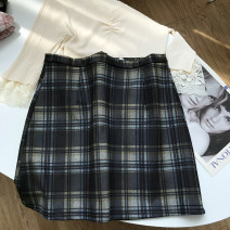 skirt Summer 2021 S,M,L,XL Short skirt commute High waist other lattice Type A 18-24 years old 30% and below other other