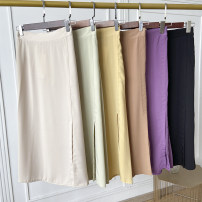 skirt Summer 2020 Average size Coffee skirt, yellow skirt, purple skirt, apricot skirt, black skirt, green skirt Mid length dress commute High waist other Solid color Type A 18-24 years old FG706151 30% and below other Other / other other Korean version