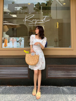 Dress Summer 2020 The price of white dress is 5-7 days, that of red dress is 5-7 days, that of yellow dress is 5-7 days, and that of blue dress is 5-7 days M, L Mid length dress singleton  Short sleeve commute square neck High waist Broken flowers zipper Others 18-24 years old Korean version other