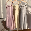 Dress Autumn 2020 Pink purple dress, apricot dress, grey dress S,M,L longuette singleton  Long sleeves commute square neck lattice other camisole 18-24 years old Type A Other / other SG158103 30% and below