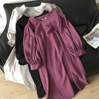 Dress Spring 2021 Apricot, grey, black, pink purple Average size longuette singleton  Long sleeves commute Crew neck Solid color Socket 18-24 years old Type A Other / other FG514344 30% and below