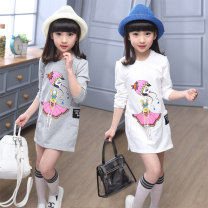 T-shirt White grey Bear and bear 110cm 120cm 130cm 140cm 150cm 160cm female spring and autumn Long sleeves Crew neck leisure time There are models in the real shooting nothing other Cartoon animation Other 100% Fairy girl Class B Sweat absorption Autumn of 2019 Chinese Mainland Zhejiang Province