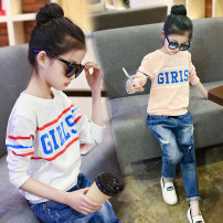 T-shirt spring and autumn leisure time There are models in the real shot nothing Cotton 95% polyurethane elastic fiber (spandex) 5% QTX Class B Autumn of 2019 Bear and bear Five, six, seven, eight, nine, ten, eleven, twelve, thirteen cotton Cartoon animation female Zhejiang Province Jinhua City