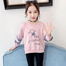 T-shirt Pink Green Bear and bear 110cm 120cm 130cm 140cm 150cm 160cm female spring and autumn Long sleeves Crew neck leisure time There are models in the real shooting nothing cotton Cartoon animation Cotton 85% polyester 15% DWY008 Class B Spring 2020