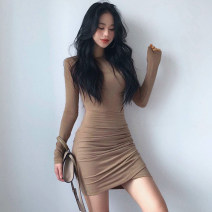 Dress Summer 2021 Khaki, black S,M,L Short skirt singleton  Long sleeves street Crew neck High waist Solid color Socket One pace skirt routine 18-24 years old Type H PMD6424W0H 51% (inclusive) - 70% (inclusive) knitting cotton Europe and America