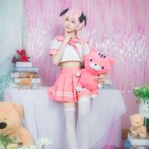 Cosplay men's wear suit goods in stock The stars Over 14 years old Ah Fu C clothing (top + skirt + 3 headdress) socks, Ah Fu wig Animation, games 50. M, s, XL, one size fits all Japan fate Otaku department, campus style