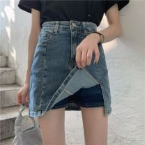 skirt Spring 2021 S [90-100kg], m [100-110kg], l [110-120kg], XL [120-135kg], 2XL [135-150kg], 3XL [150-165kg], 4XL [165-175kg], 5XL [175-200kg] Black, Retro Blue Short skirt commute High waist A-line skirt Solid color Type A 18-24 years old FWL4067 Denim Other / other Korean version