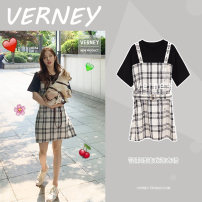 Dress Spring 2020 black S,M,L,XL Middle-skirt singleton  Short sleeve commute Crew neck High waist lattice zipper A-line skirt routine camisole 18-24 years old Type A Korean version More than 95% other