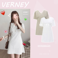 Dress Summer 2020 Apricot, white S,M,L,XL Short skirt singleton  Short sleeve Sweet V-neck High waist Solid color A-line skirt routine 18-24 years old Other / other Splicing college