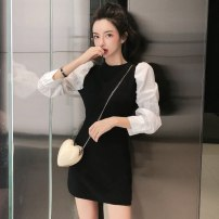 Dress Autumn of 2019 black Average size Middle-skirt singleton  Long sleeves commute Crew neck High waist Socket A-line skirt 18-24 years old Type H Other lady 6C7D27070 31% (inclusive) - 50% (inclusive) polyester fiber