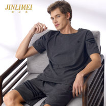 Pajamas / housewear set male Kim Limei 413 elegant dark grey 097 luxurious red stripe 086 cool off white 461 simple black 450 steady dark blue cotton Short sleeve Simplicity Leisure home summer Thin money Crew neck Solid color shorts Socket youth 2 pieces rubber string pure cotton printing