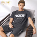 Pajamas / housewear set male Kim Limei 415 cool dark grey 416 fashion dark grey 081 elegant medium grey 464 fashion dark blue 095 pure white sports cotton Short sleeve Simplicity Leisure home summer Thin money Crew neck other shorts Socket youth 2 pieces rubber string pure cotton printing Cotton 100%