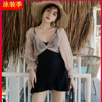 one piece  Tagkita / she and others M,L,XL black Skirt one piece With chest pad without steel support Nylon, spandex, polyester, others Fairy fan female Long sleeves Casual swimsuit Solid color backless