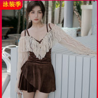 one piece  Tagkita / she and others M,L,XL brown Skirt one piece With chest pad without steel support Spandex, polyester, others One shoulder velvet female Long sleeves Casual swimsuit Solid color Pleating