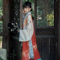 Hanfu 96% and above Autumn 2020 Stand collar and slant placket long shirt red dyed longer than Jia red dyed one piece pleated skirt red dyed ribbon red dyed polyester fiber