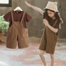 suit Fun clothes coffee 110cm 120cm 130cm 140cm 150cm 160cm female summer Korean version Short sleeve + pants 2 pieces Thin money There are models in the real shooting Socket nothing Solid color cotton children birthday Brown suspender suit Class B Summer 2021 Chinese Mainland