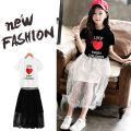 suit Fun clothes White black 110cm 120cm 130cm 140cm 150cm 160cm female summer Korean version Short sleeve + skirt 2 pieces Thin money There are models in the real shooting Socket nothing Solid color cotton children Learning reward Black and white love suit Class B Summer 2021 Chinese Mainland
