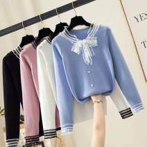 Wool knitwear Autumn 2021 S M L XL Blue black white yellow pink light Khaki Long sleeves singleton  Socket other More than 95% have cash less than that is registered in the accounts routine commute Self cultivation Half height crew neck routine Solid color Korean version PYN08990 18-24 years old