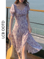Dress Summer 2021 Purple Floral Skirt S,M,L Mid length dress singleton  Short sleeve commute square neck High waist Broken flowers A-line skirt puff sleeve Others 18-24 years old Type A Retro bow More than 95% Chiffon polyester fiber