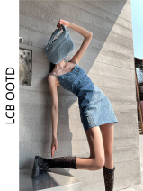 Dress Summer 2021 Blue short, blue long S,M,L Short skirt singleton  Short sleeve commute High waist A-line skirt routine Others 18-24 years old Type A Korean version 30% and below