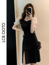 Dress Summer 2021 black S,M,L Short skirt singleton  Short sleeve commute square neck High waist Solid color zipper A-line skirt puff sleeve 18-24 years old Type A Korean version 81% (inclusive) - 90% (inclusive)