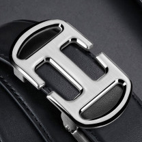 Belt / belt / chain top layer leather Black gold button black silver button male belt leisure time Single loop Young and middle aged Automatic buckle letter Glossy surface 3.5cm alloy alone Guhedi GDK-53 110cm 115cm 120cm 125cm 130cm Autumn 2020 no