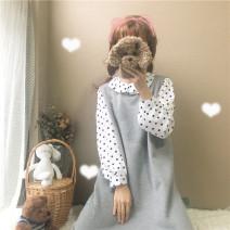 Fashion suit Autumn 2020 Average size Grey dress (premium), apricot dress (premium), White Polka Dot Shirt (premium) 18-25 years old Eight point four