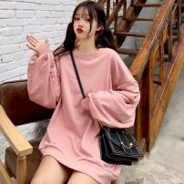 Sweater / sweater Autumn 2020 Sky blue (quality version), green (quality version), yellow (quality version), lotus root Pink (quality version) M,L,XL Long sleeves Medium length Socket singleton  Thin money Crew neck easy Sweet routine Solid color 18-24 years old Eight point three polyester fiber