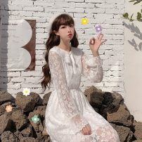 Dress Spring 2020 Apricot, white Average size Mid length dress singleton  Long sleeves Sweet Doll Collar High waist Solid color Socket A-line skirt routine Others 18-24 years old Type A Other / other Four point four solar system