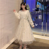 Dress Spring 2020 Apricot Average size Mid length dress singleton  Long sleeves Sweet other High waist Solid color Socket A-line skirt other Others 18-24 years old Type A solar system