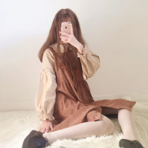 Dress Autumn of 2019 Top, skirt Average size Mid length dress Two piece set Sleeveless Sweet Crew neck High waist Cartoon animation Single breasted Princess Dress other straps 18-24 years old Type A Other / other straps Eight point one 91% (inclusive) - 95% (inclusive) corduroy polyester fiber