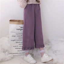 Casual pants Purple, brown Average size Autumn of 2019 Cropped Trousers Straight pants High waist Sweet routine 18-24 years old eight point one five Other / other solar system
