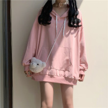 Sweater / sweater Autumn 2020 White (premium), blue (premium), black (premium), pink (premium) M,L,XL Long sleeves routine Socket singleton  routine Hood easy Sweet routine Solid color 18-24 years old Eight point two solar system