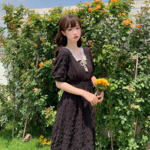 Dress Summer 2020 Red, black Average size Mid length dress singleton  Short sleeve Sweet square neck High waist Solid color Socket A-line skirt routine 18-24 years old Type A six point two one 81% (inclusive) - 90% (inclusive) brocade cotton solar system