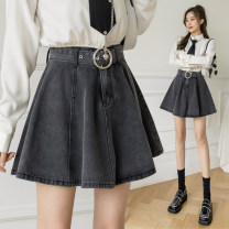 skirt Summer 2021 S,M,L,XL Grey, blue (with safety pants) Short skirt commute High waist A-line skirt Solid color Type A 18-24 years old Lace up, fold, pocket, three-dimensional decoration, asymmetry Korean version