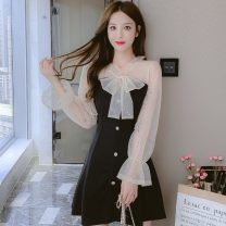 Dress Spring 2021 black S,M,L Short skirt singleton  Long sleeves commute V-neck High waist Solid color Socket A-line skirt routine 18-24 years old Type A Korean version Stitching, bowknot, hollow out, open back, fold, Auricularia auricula