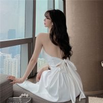 Dress Summer 2021 white S, M longuette singleton  Sleeveless commute V-neck High waist Solid color Socket Big swing camisole 18-24 years old Other / other Korean version rivet , tassels , Flocking , hole , Hollow out