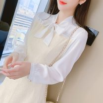 Dress Spring 2021 Picture color S,M,L,XL Short skirt Fake two pieces Long sleeves commute Scarf Collar middle-waisted Solid color Socket A-line skirt routine 18-24 years old Type A Korean version Stitching, bowknot, lace, three-dimensional decoration, thread