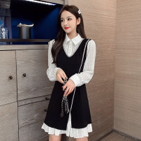 Dress Autumn 2020 black S,M,L,XL Short skirt Fake two pieces Long sleeves commute Polo collar Loose waist Solid color 18-24 years old Type A Korean version Ruffles, hollowed out, pleated, pleated, stitched, three-dimensional decoration