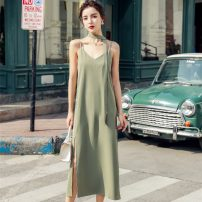 Dress Summer 2020 Picture color XS,S,M,L,XL Mid length dress singleton  Sleeveless commute V-neck Loose waist Solid color 18-24 years old Korean version