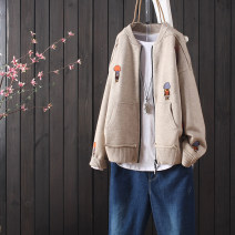 Wool knitwear Autumn of 2019 Average size Black, red, beige, coffee Long sleeves singleton  Cardigan cotton 51% (inclusive) - 70% (inclusive) Regular routine commute easy other routine other zipper literature Other / other Embroidery