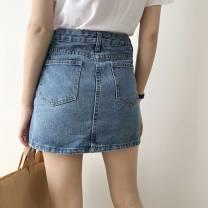 skirt Summer 2020 S. M, l, XL, model height 165, weight 90, size S Light blue, dark blue Short skirt commute High waist A-line skirt Solid color Type A 18-24 years old 30% and below Denim other Zipper, stitching Korean version