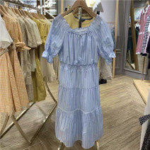 Dress Summer 2021 blue 155/80A,160/84A,165/88A,170/92A Mid length dress singleton  Short sleeve Sweet One word collar middle-waisted stripe other A-line skirt puff sleeve Type A E·LAND EEOWA26C1N cotton Bohemia