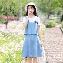 Dress Summer 2020 155/S,160/M,165/L,170/XL,175/XXL Middle-skirt Two piece set Short sleeve Sweet Crew neck Loose waist Solid color zipper A-line skirt Lotus leaf sleeve straps 18-24 years old Type A Denim other college