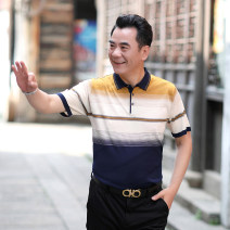T-shirt Business gentleman thin 165 / suitable for 90-110 kg DSS, 170 / suitable for 120-140 kg dak, 175 / suitable for 140-160 kg ZBH, 180 / suitable for 160-180 kg qqvr, 185 / suitable for 180-200 kg ZK, 190 / suitable for 200-210 kg Nik Others Short sleeve Lapel easy daily summer middle age 2020