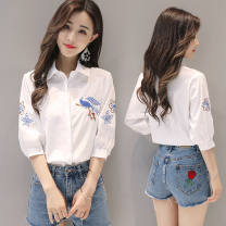 shirt white S,M,L,XL,2XL Summer 2020 other 31% (inclusive) - 50% (inclusive) Polo collar Single row two buttons Solid color Self cultivation Other / other Embroidery, buttons